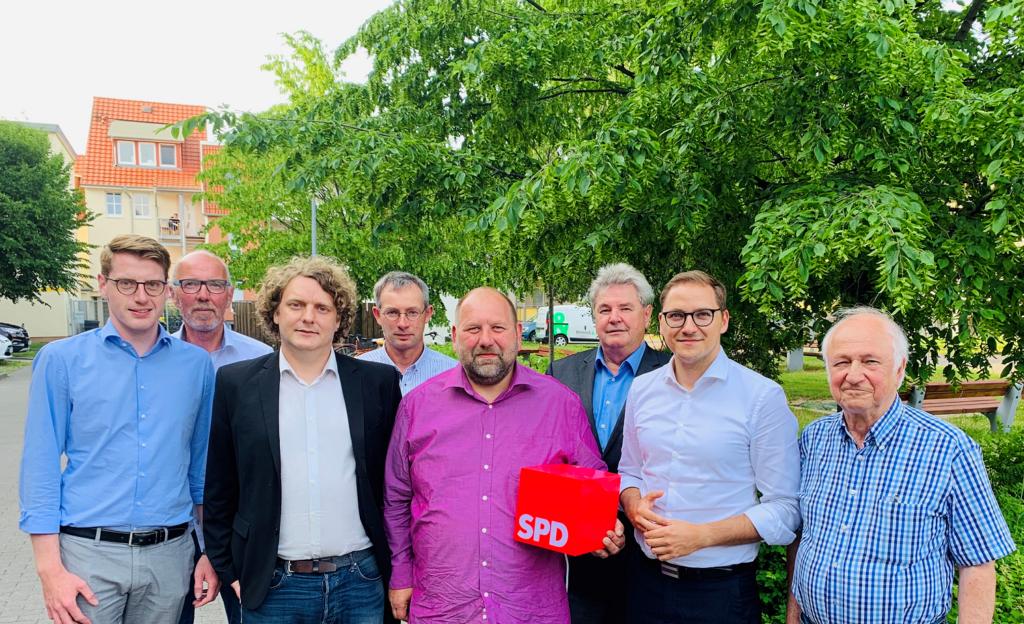 v.l.n.r.: Vorsitzender Falko Beitz, Bernd Nabert, Erik von Malottki, Frank Tornow, Carsten Seeger (ausgeschieden), Norbert Raulin, Patrick Dahlemann, MdL, Dr. Günther Jikeli